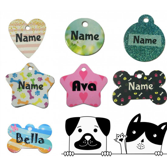 Personalised Pet Tag Dog Cat Puppy ID Tags Aluminium Pattern