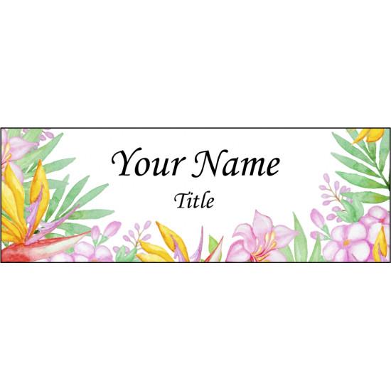 Personalised Pattern Name badge Pin or magnet back custom print Staff ID tag