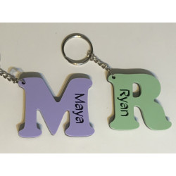 Personalised Key Ring Acrylic Letter School Bag Tag Laser Cut Keyring Pastel 6mm