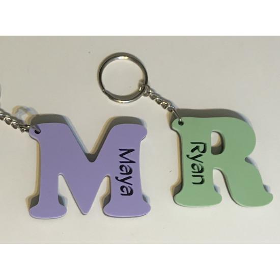 Personalised Key Ring Acrylic Letter School Bag Tag Laser Cut Keyring Pastel 6mm