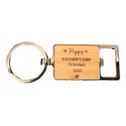Personalised Bamboo Keyring - Any Text Laser Engraved