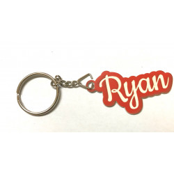 Personalised Name Tag shape Key Chain Keyring Bag Tag Engraved Any Name