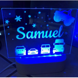 Personalised Night Light Cars Monster Truck Name LED USB Decor Light