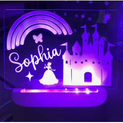 Castle Night Light Personalised Name LED USB Decor Light