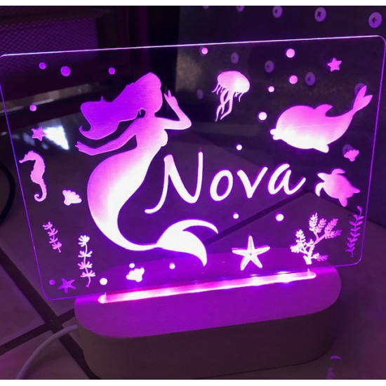 Personalised Night Light Mermaid Name LED USB Decor Light