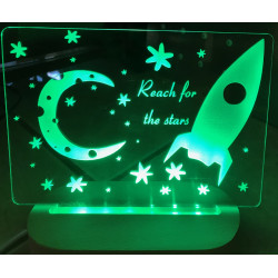 Personalised Night Light Rocket Stars Name LED USB Decor Light