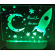 Personalised Night Light Rocket Stars Name LED USB Decor Light