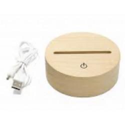 Personalised Name Night Light Battery LED Round Wood Base USB Decor Light