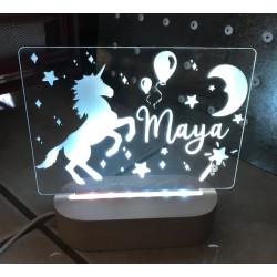 Personalised Night Light Unicorn Name LED USB Decor Light