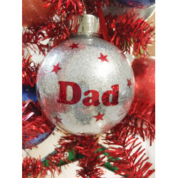 Personalised SILVER GLITTER Christmas Bauble Ornament - Silver bauble with Glitter flake Text