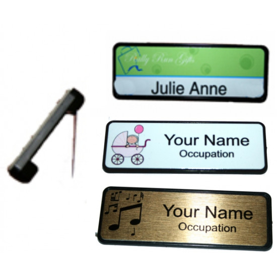 LOGO NAME BADGE tag WORK BADGES 6.4x1.9cm PIN BACK