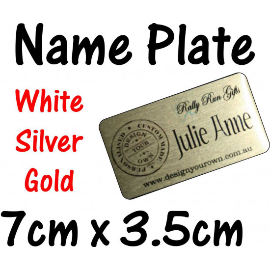 Self Adhesive NAME PLATE nameplate PRINTED 7 x 3.5cm trophy plaque