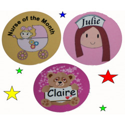 NURSE ROUND Name BADGE PIN BACK 50mm Personalised