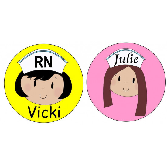 Personalised Nurse FACE Name Badge 50mm Round