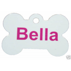 Personalised BUDGET WHITE Metal Dog tag / pet tags ID - cat / dogs