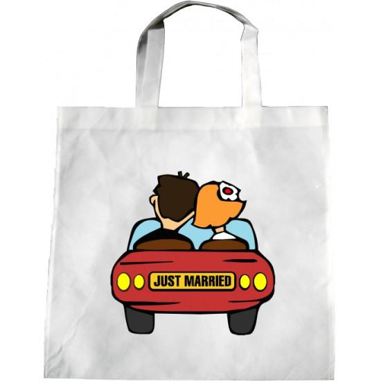 Personalised Wedding Enviro Tote Bag - Just Married Car Design Q