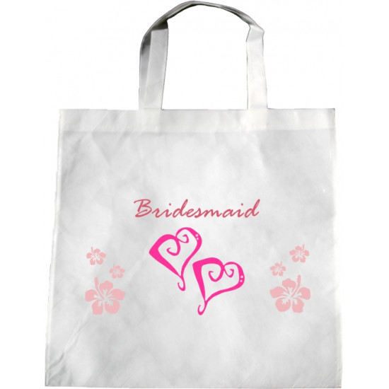 Personalised Wedding Enviro Tote Bag - Hearts Flowers B