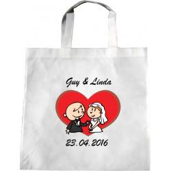 Personalised Wedding Enviro Tote Bag - Loving Couple Design N