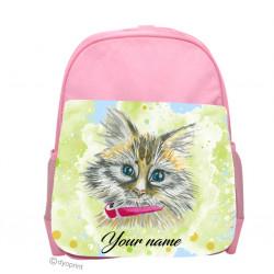 Personalised Kids Back Pack Bag - KBP14 Cute Kitten