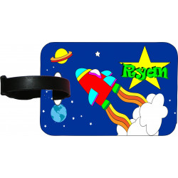 Personalised MDF Luggage Bag Tag - 01 Rocket Design