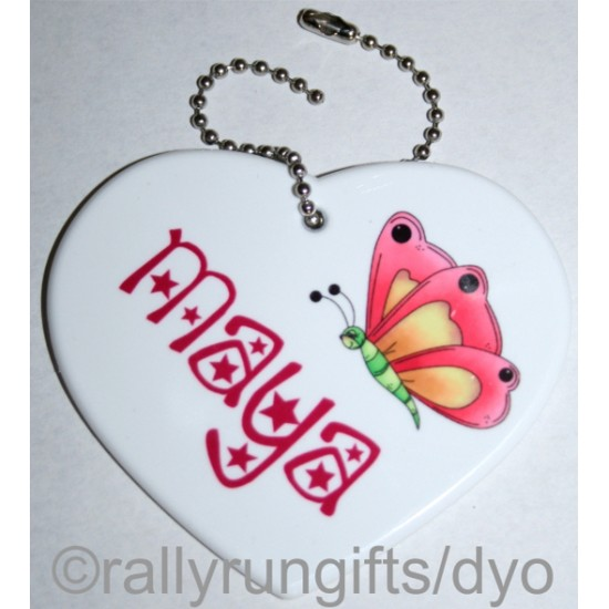 Personalised HEART BAG TAG polymer with ball chain