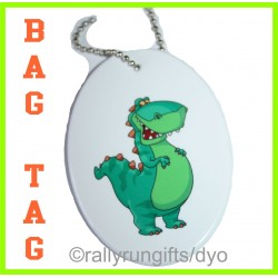 Personalised OVAL BAG TAG polymer with ball chain