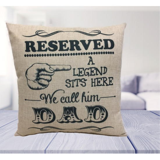 Personalised Cushion - Legend sits here - Fathers day Gift