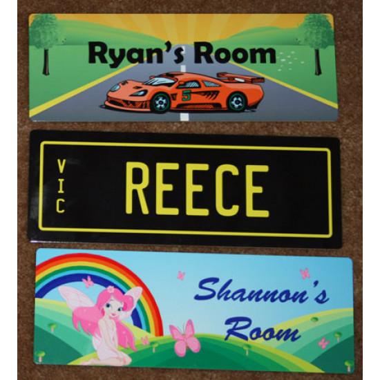PERSONALISED Kids NAME Number DOOR Plate Sign 20x7.3cm
