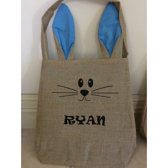 Personalised Bunny Ears Easter bag Hemp Burlap Blue, pink and white