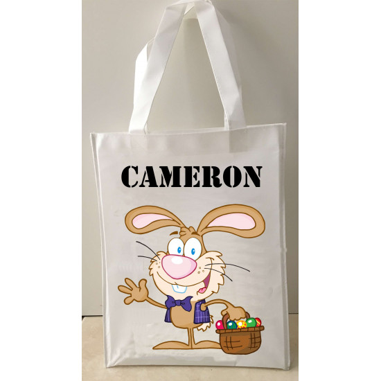 Personalised Enviro Tote Bag - e11 Waving Bunny