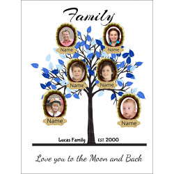 Personalised Blue Family Tree Hardboard Photo Block FT1