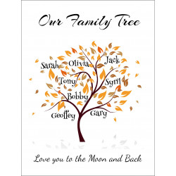 Personalised Autumn Name Tree Hardboard Photo Block FT11