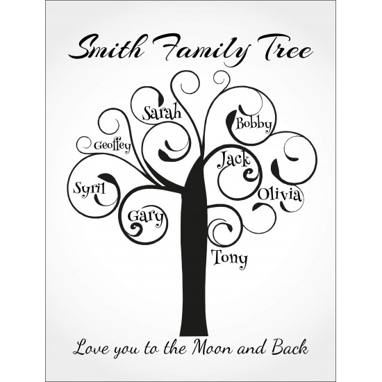 Personalised Black Name Tree Hardboard Photo Block FT13