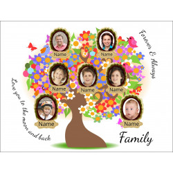 Personalised Colourful Family Tree Hardboard Photo Block FT2