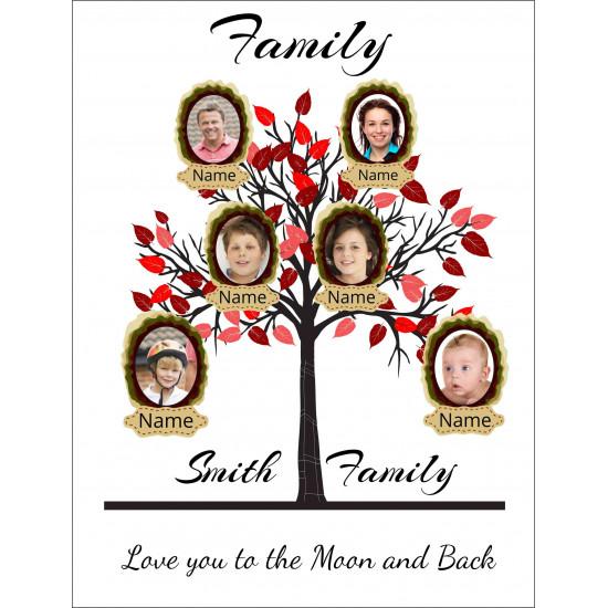 Personalised Red Family Tree Hardboard Photo Block FT5