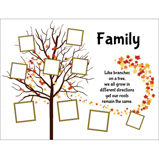 Personalised Quote Family Tree Hardboard Photo Block FT6
