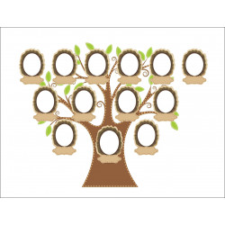 Personalised Member Family Tree Hardboard Photo Block FT7