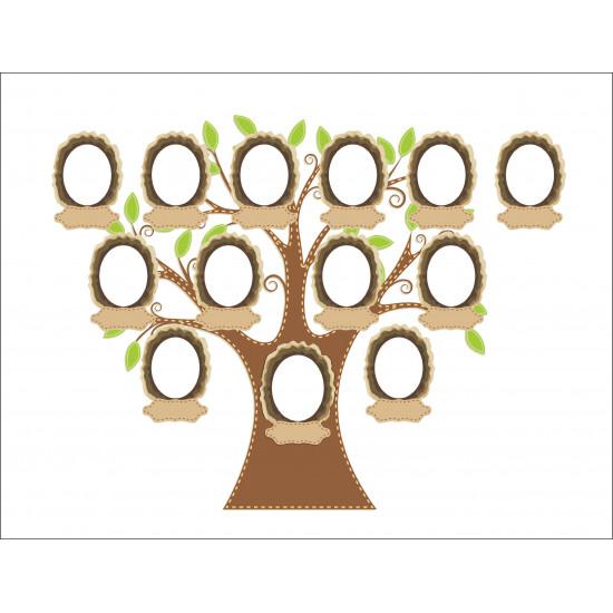 Personalised Member Family Tree Hardboard Photo Block FT7
