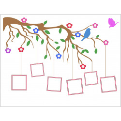 Personalised Tree Bird Family Tree Hardboard Photo Block FT8