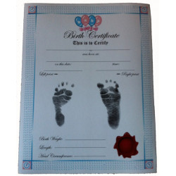 BIRTH CERTIFICATE - WHITE /PINK & BLUE border Inkless Footprint KIT