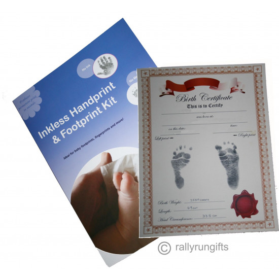 BIRTH CERTIFICATE - Manila & Red - Inkless Baby Footprint KIT