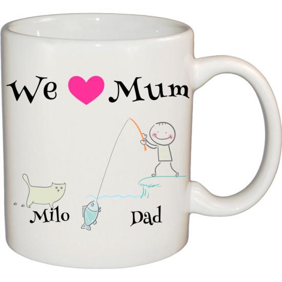 Ceramic Mug Stick Figure Design