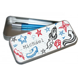 Personalised Pencil Case Tin - Art Doodle PT13