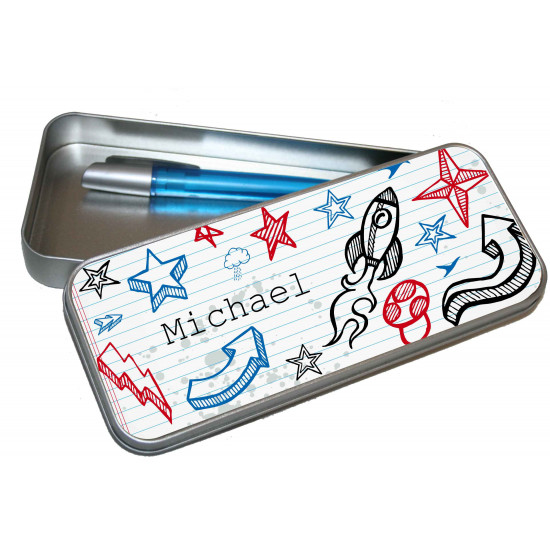 Personalised Pencil Case Tin - Art Doodle PT13