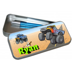 Personalised Pencil Case Tin - Monster Trucks PT18