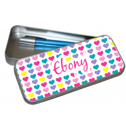 Personalised Pencil Case Tin - Hearts PT2