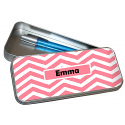 Personalised Pencil Case Tin - Pink Zig Zag PT6
