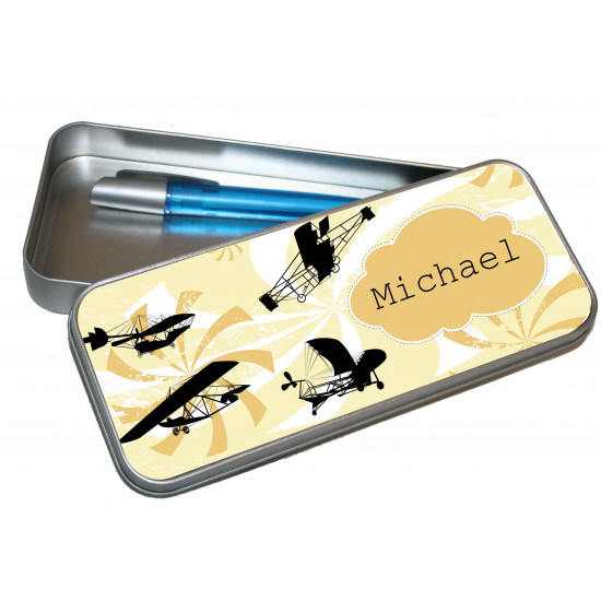 Personalised Pencil Case Tin - Planes PT9