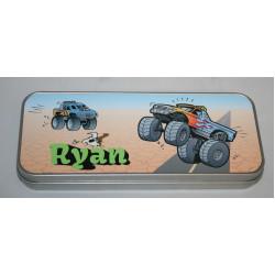 Personalised Pencil Case Tin - Monster Trucks PT18