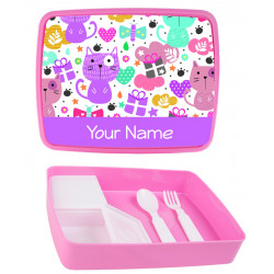 Personalised Plastic Lunch Box PLB11 Cats